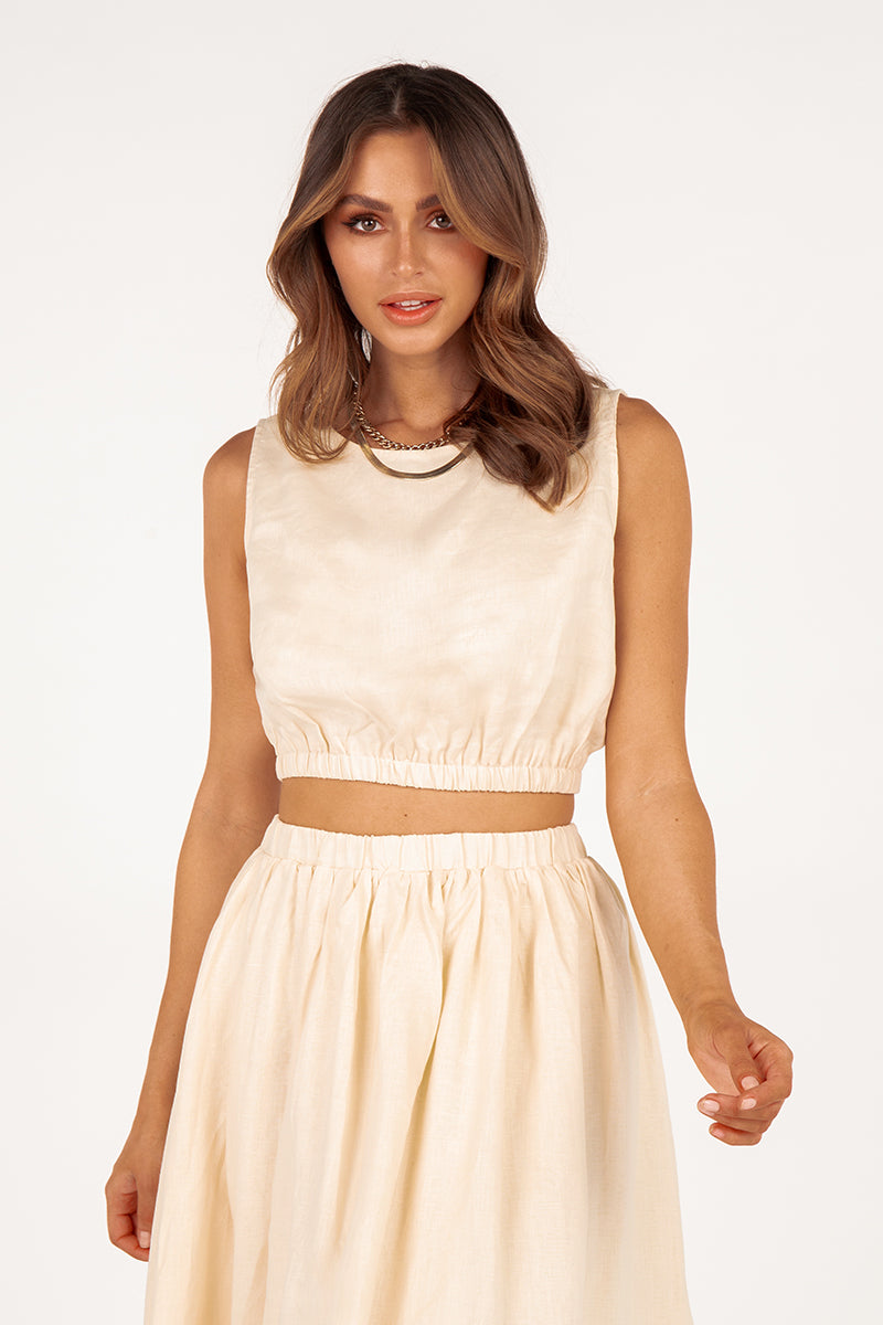 DYLAN CREAM LINEN CROP TOP
