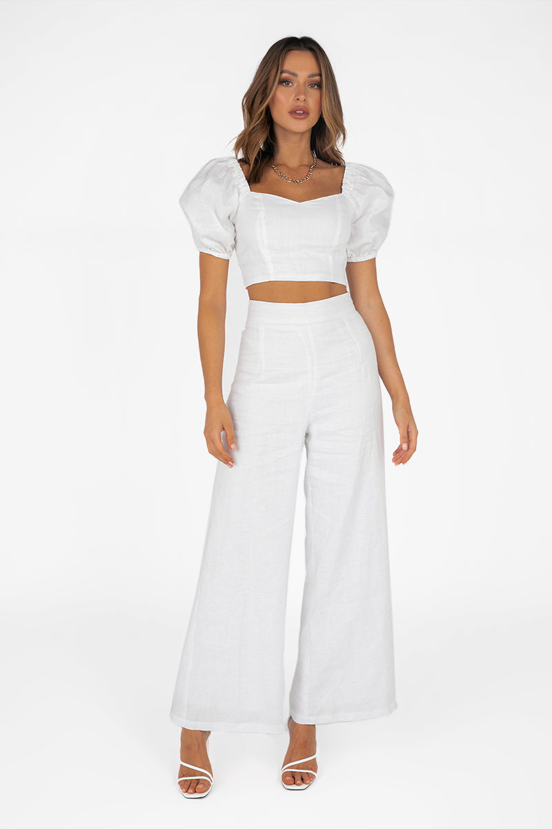 MICKY WHITE LINEN CROP TOP