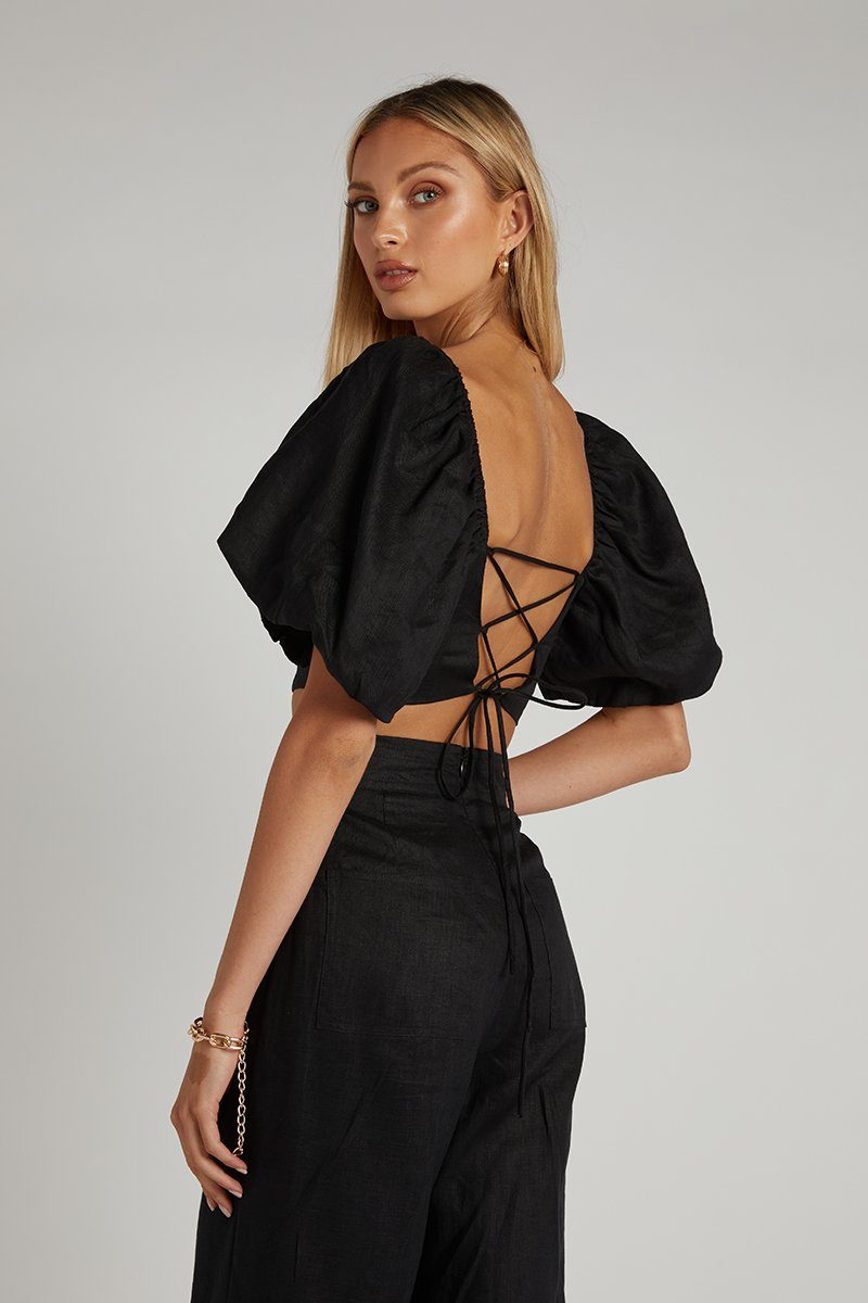 JUNE BLACK LINEN TIE BACK CROP TOP