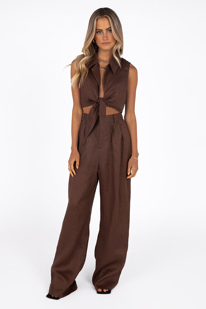 DELANEY CHOCOLATE LINEN TIE CROP