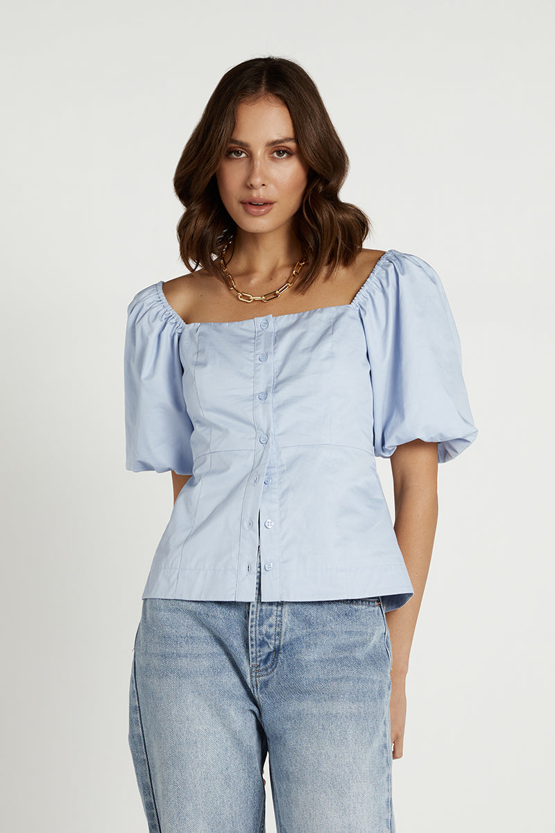 RHODES BLUE POPLIN BUTTON UP TOP