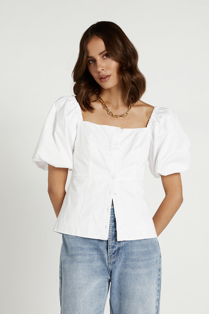 RHODES WHITE POPLIN BUTTON UP TOP