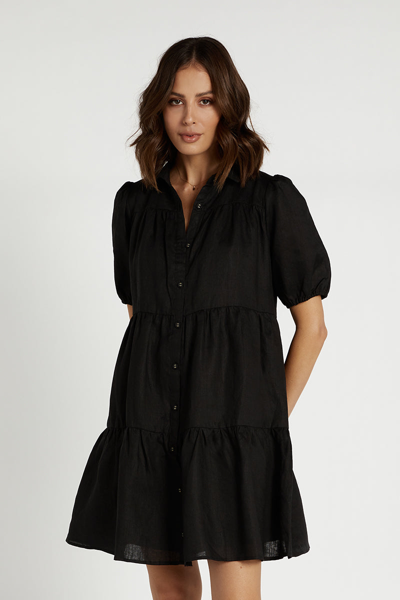 DANNY BLACK LINEN TIER SHIRT DRESS