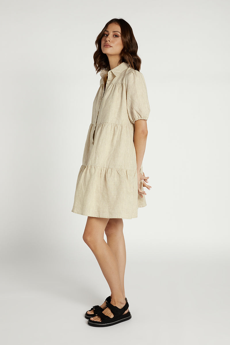 DANNY NATURAL LINEN TIER DRESS