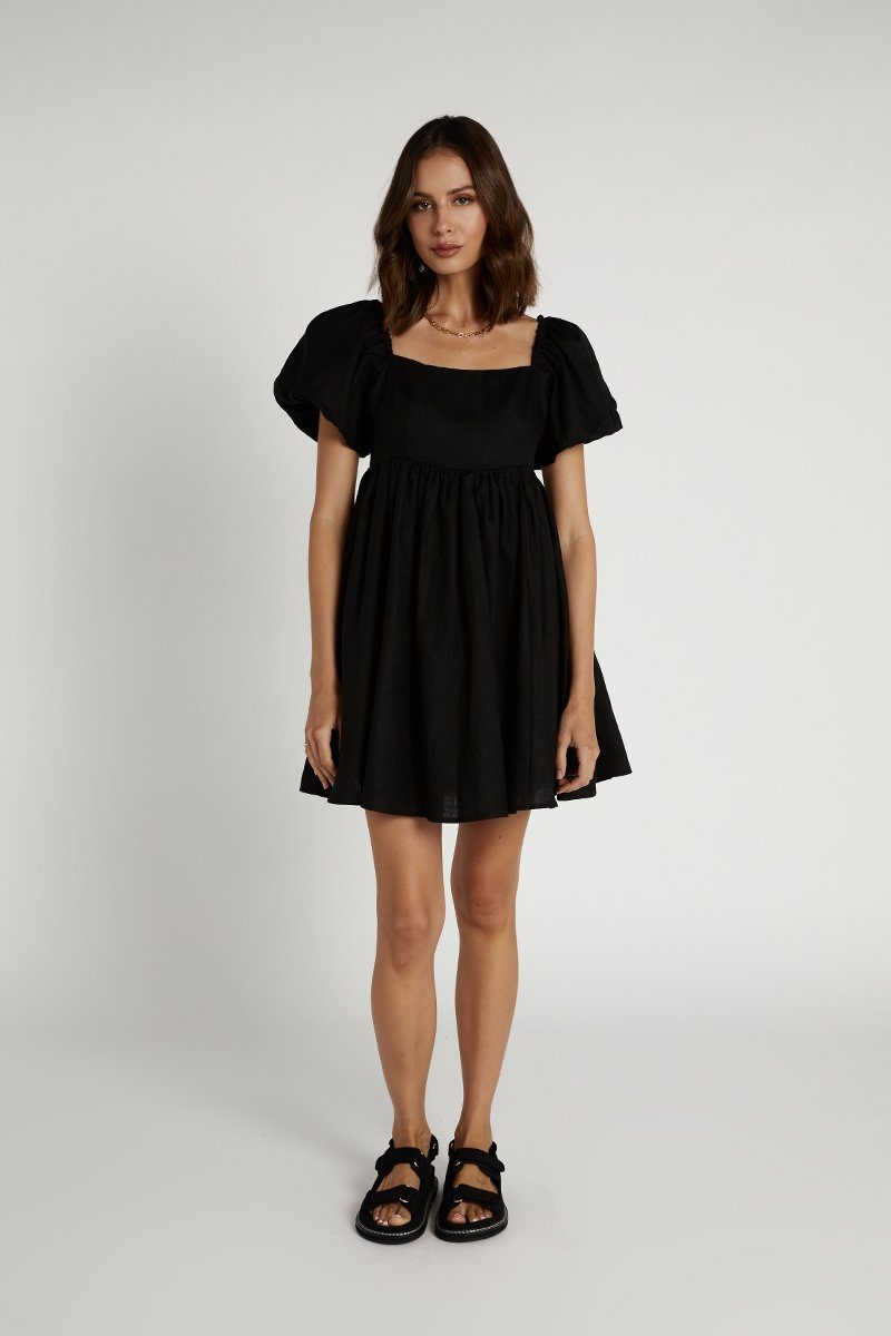 DANIELLE BLACK LINEN MINI DRESS