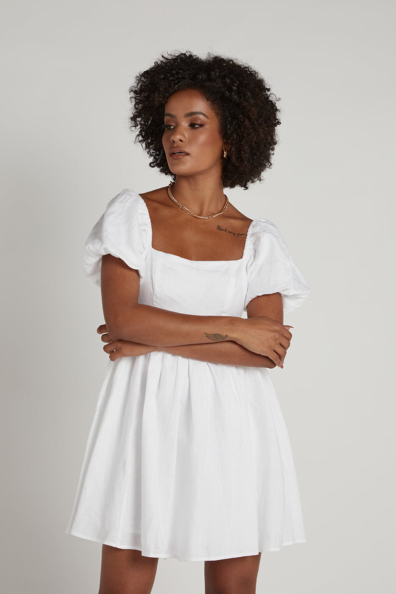 DANIELLE WHITE LINEN MINI DRESS
