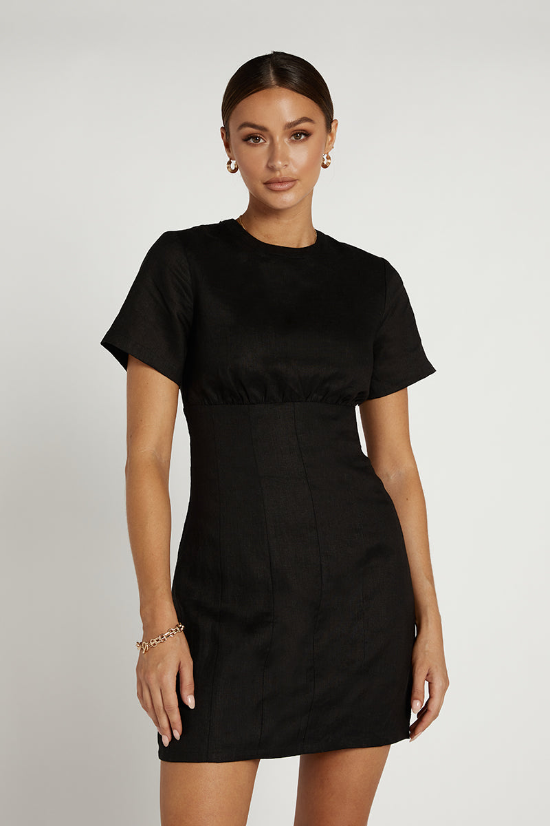 NOVA BLACK LINEN MINI DRESS