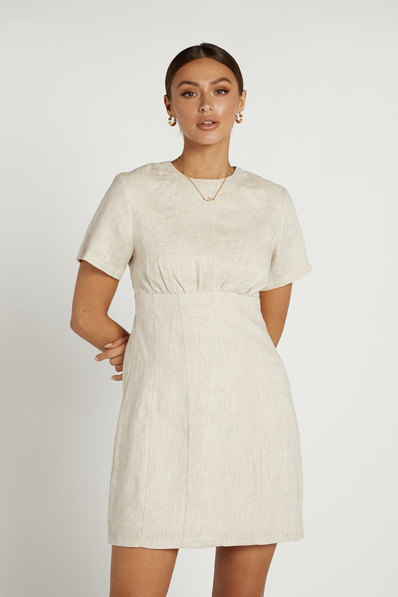 NOVA NATURAL LINEN MINI DRESS