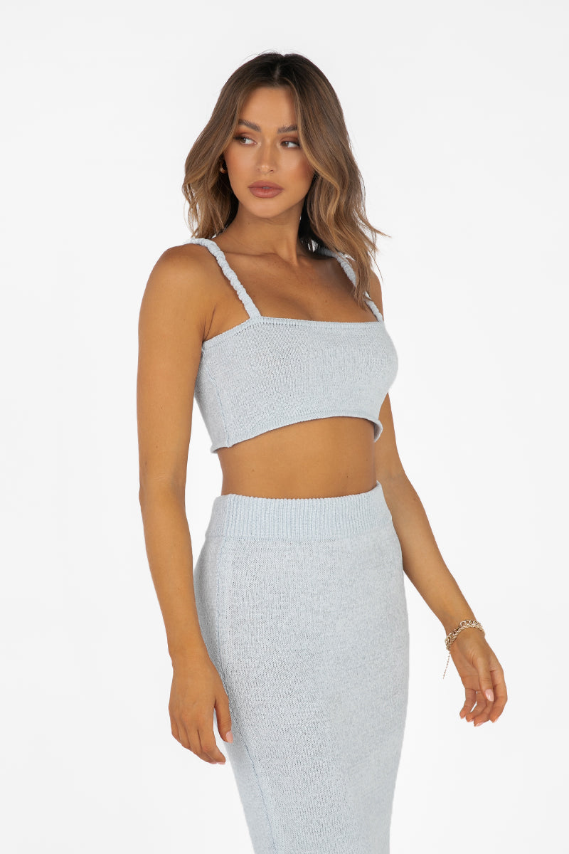 NADIA ICE BLUE KNIT CROP TOP