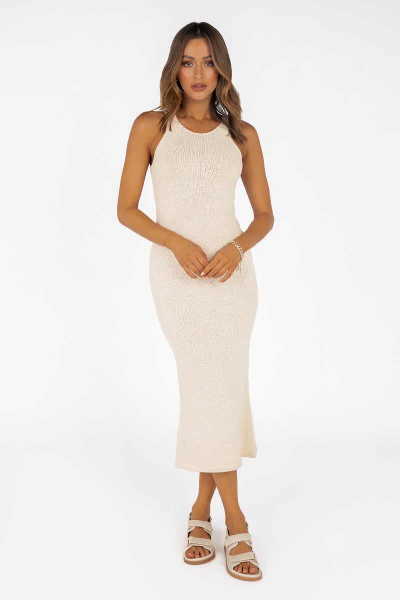 NADIA CREAM KNIT MIDI DRESS