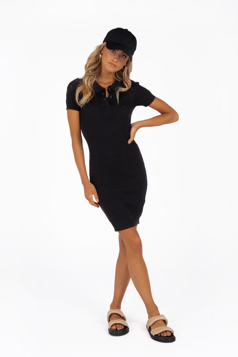 IVANA BLACK RIB KNIT MINI DRESS