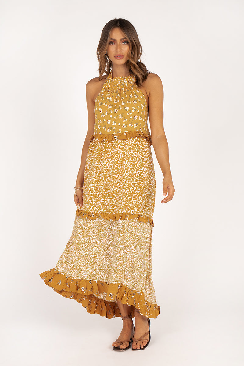 JILLY YELLOW FLORAL TIER MAXI DRESS