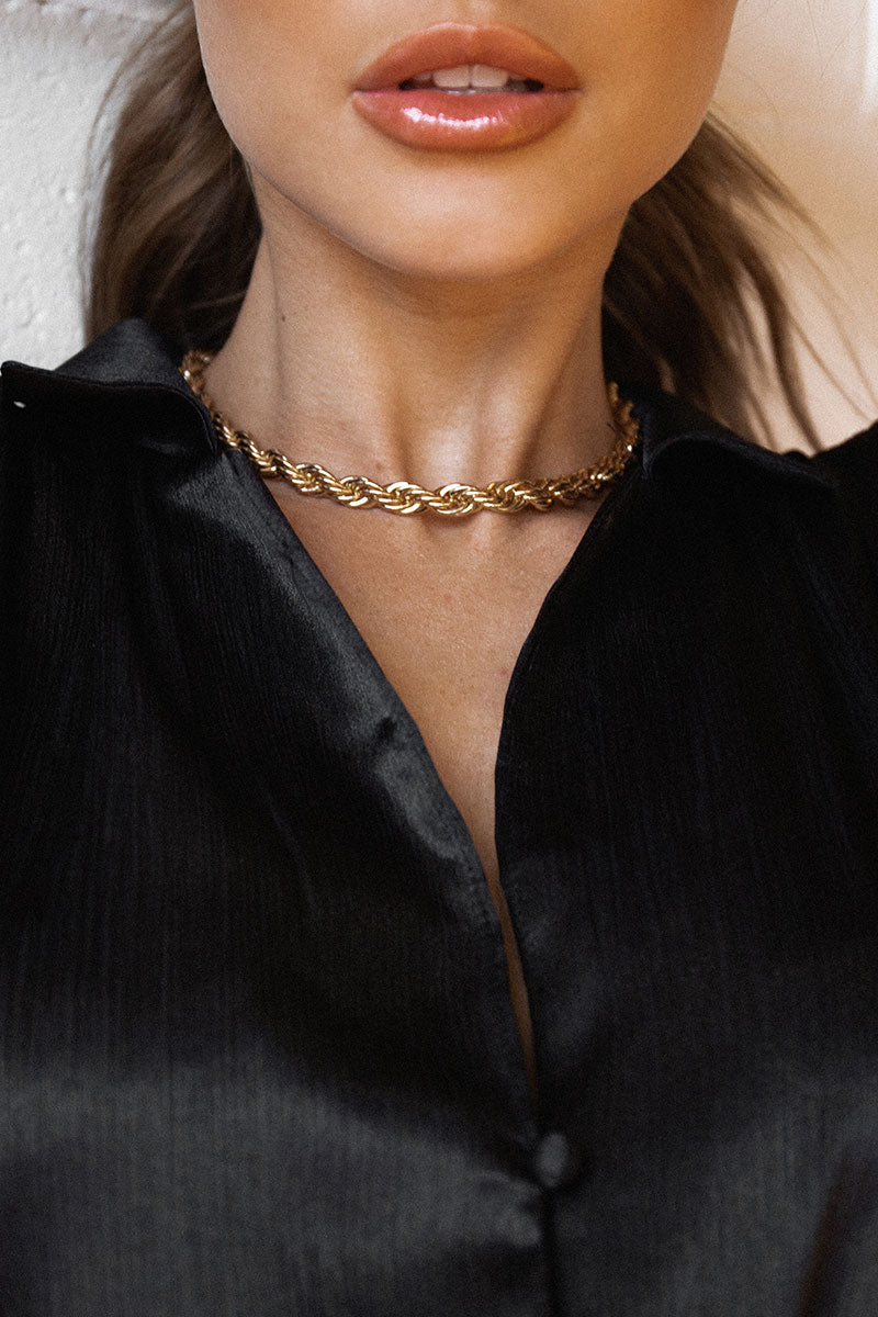 RILEY GOLD ROPE CHAIN NECKLACE