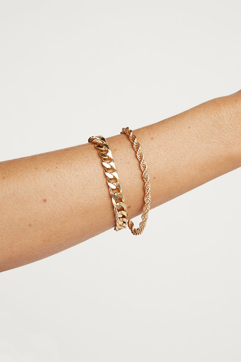 OFFSET GOLD CHAIN BRACELET SET