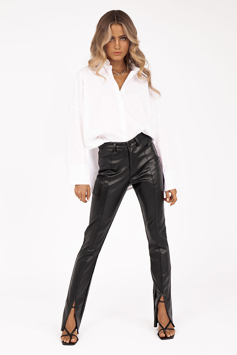 DANI BLACK FAUX LEATHER SPLIT PANT