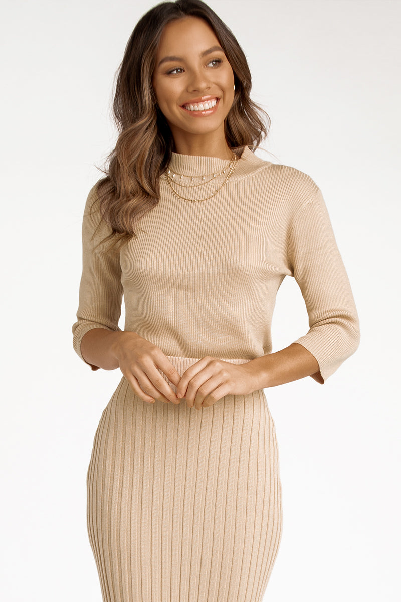 ELLEN BEIGE KNIT TOP