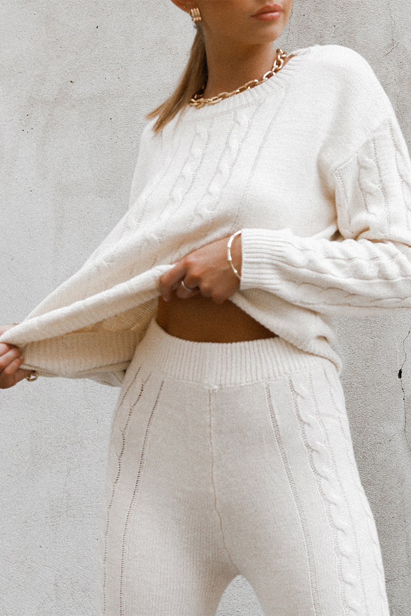 CLARE BEIGE CABLE KNIT JUMPER