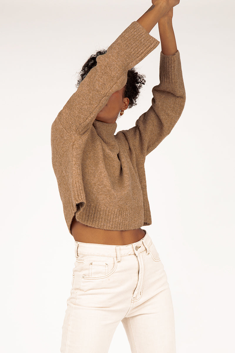 MOLLY CAMEL HIGH NECK KNIT JUMPER