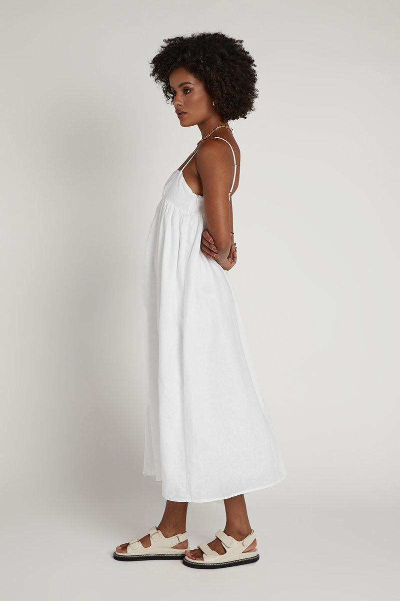 MADDOX WHITE LINEN MIDI DRESS