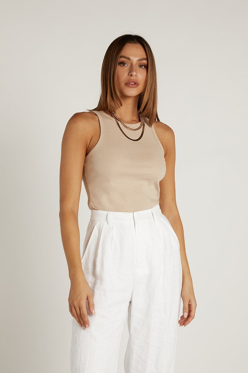 MADISON THE LABEL JAIDA TANK BEIGE