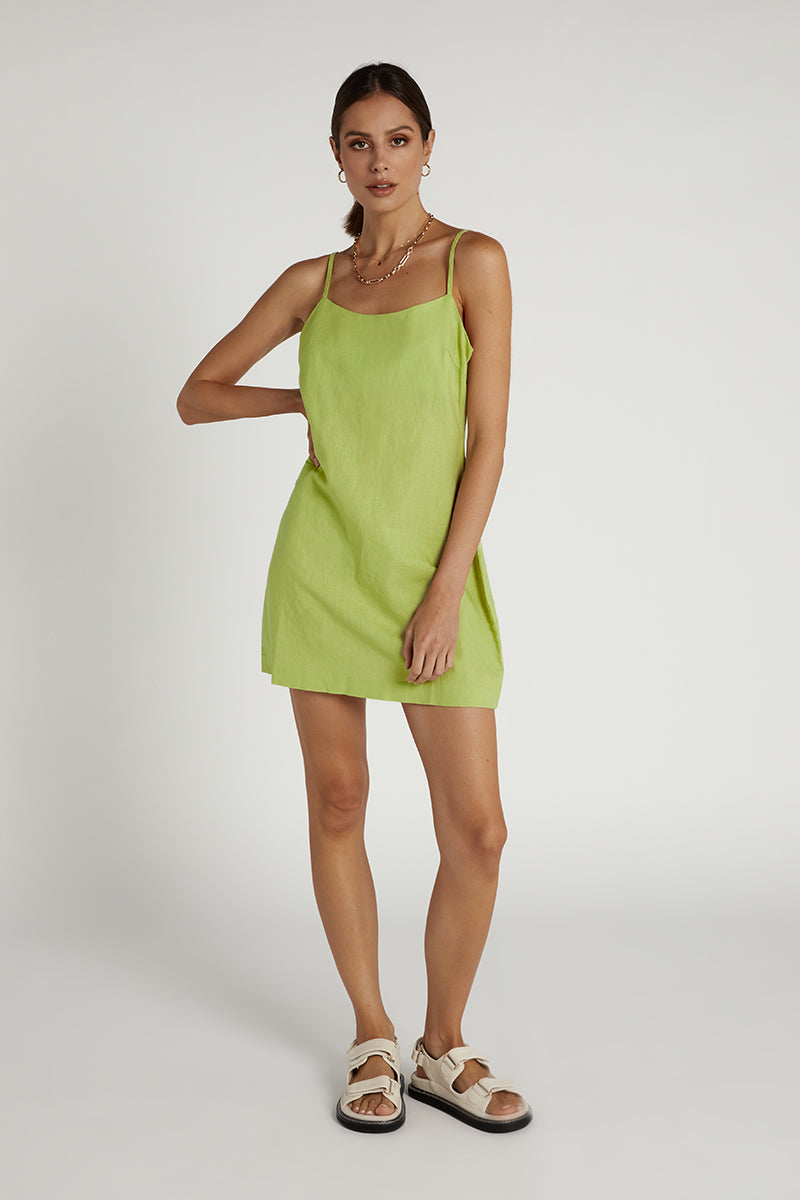 NUDE LUCY CELERY LINEN MINI DRESS