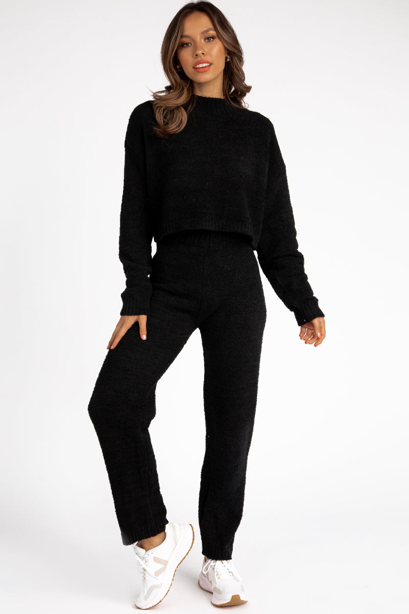 COSY UP BLACK KNIT PANT