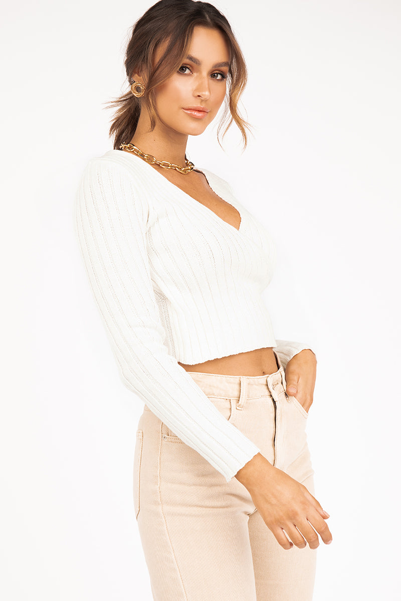 BARROWS WHITE CROSS KNIT TOP