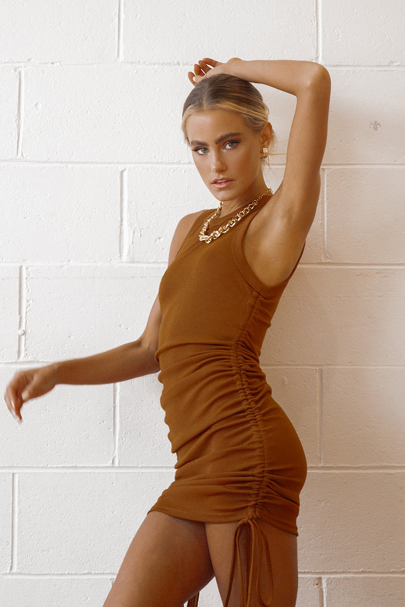 GOLD RUSH CHOCOLATE KNIT MINI DRESS
