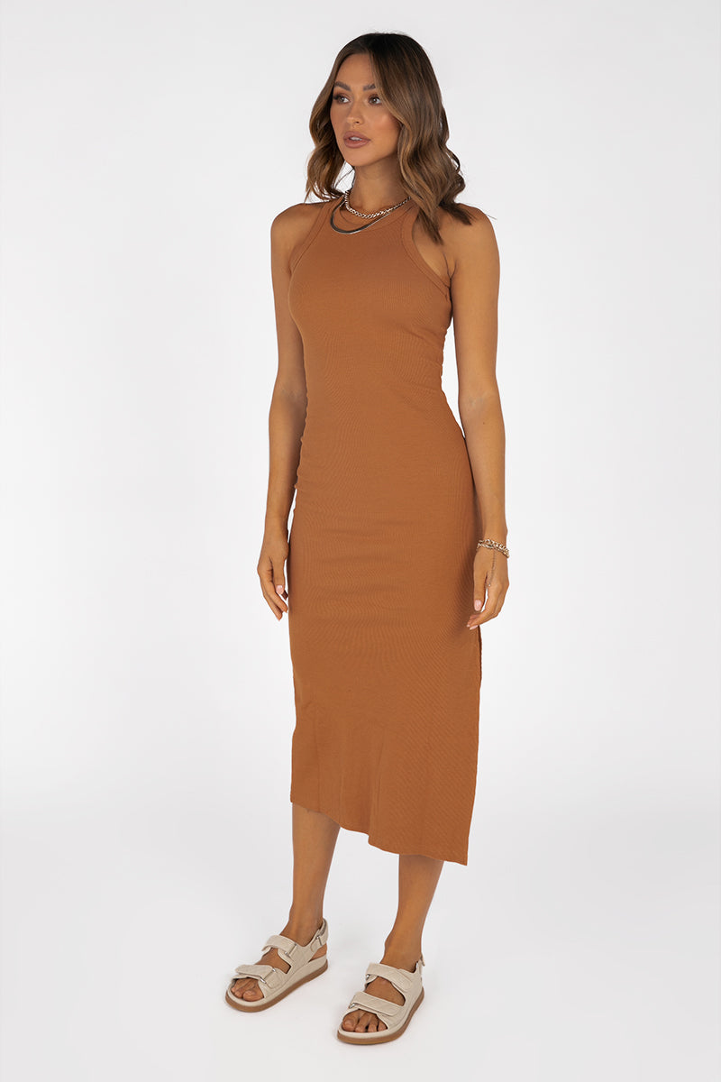 DEEP DIVE COPPER KNIT MIDI DRESS