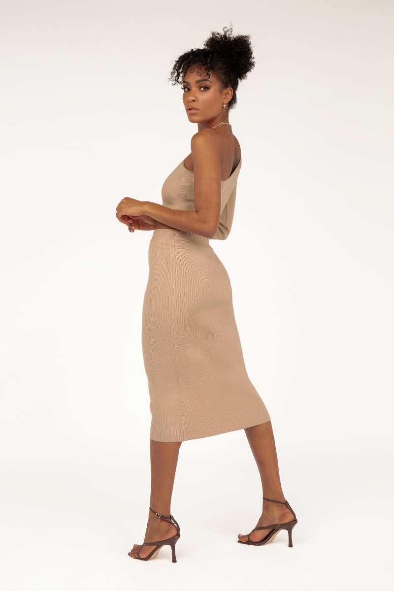 TILLY BEIGE KNIT MIDI SKIRT