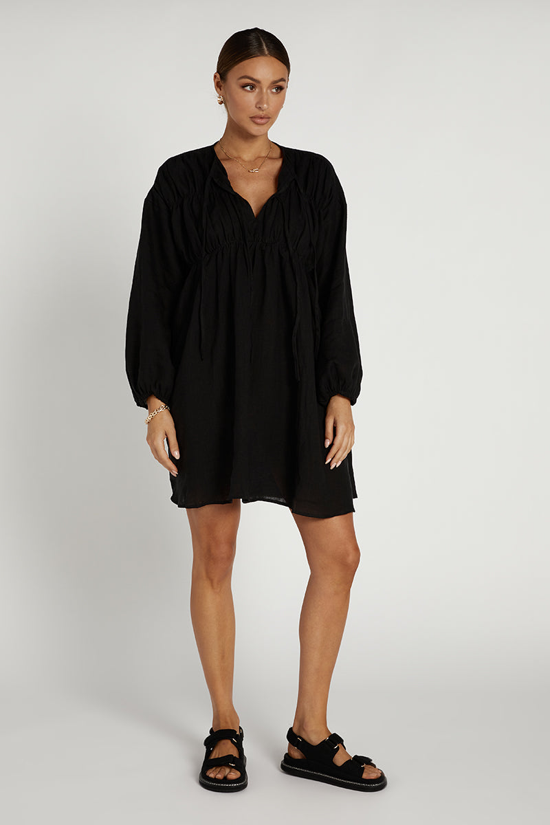 SNDYS ARIES LINEN DRESS BLACK