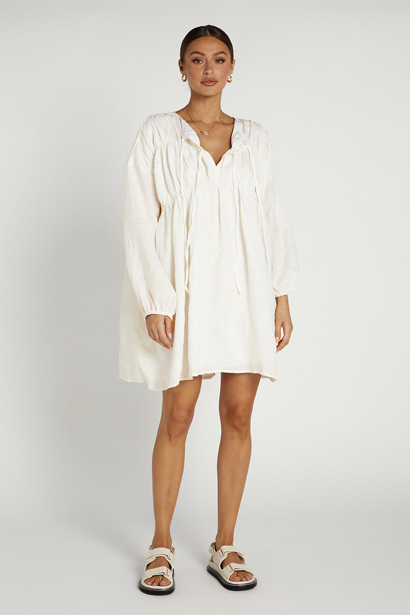 SNDYS ARIES LINEN DRESS WHITE