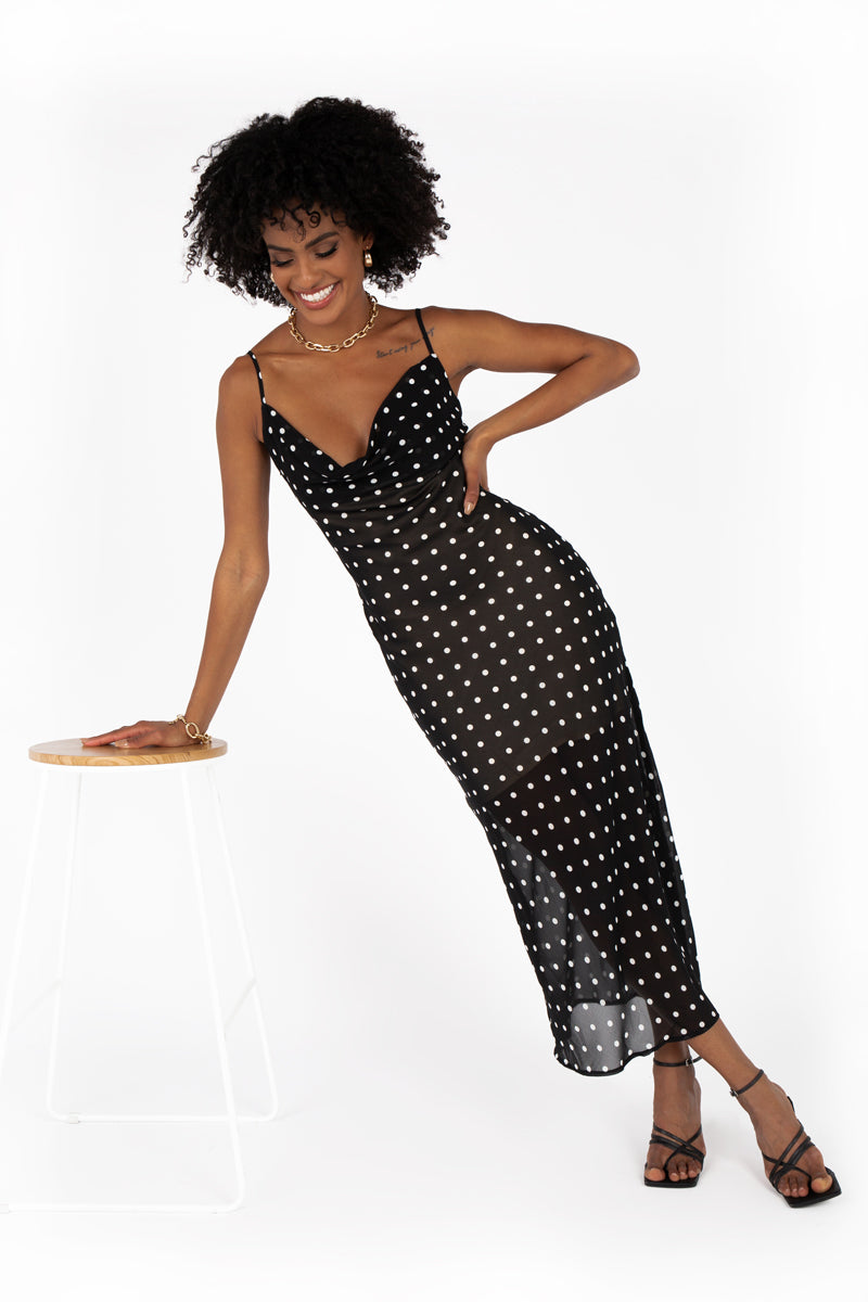 SNDYS BLACK WHITE SPOT MIDI DRESS
