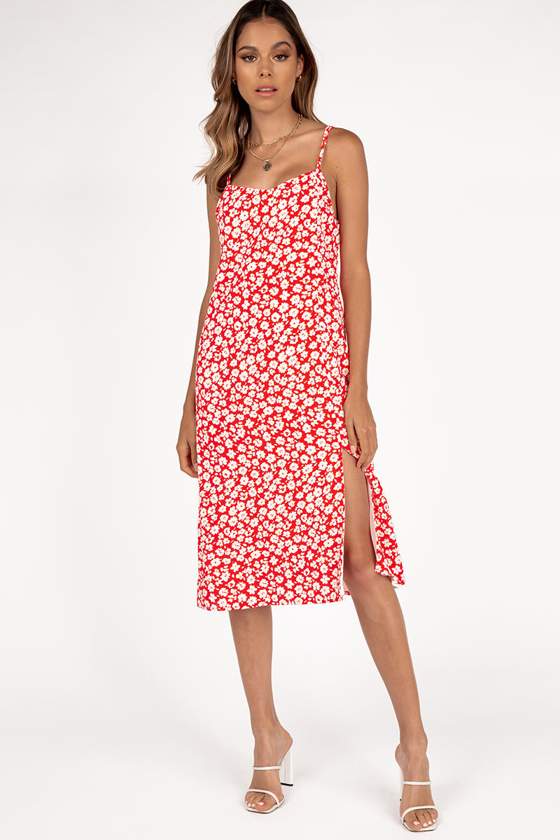 AZALEA MIDI DRESS RED FLORAL