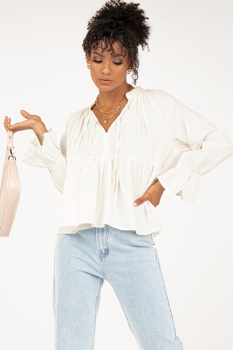 ALWAYS YOU WHITE BABYDOLL BLOUSE