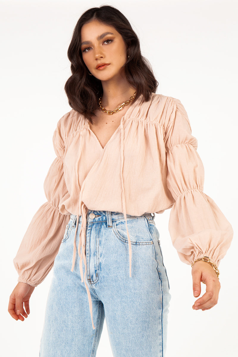 JACK BEIGE PUFF SLEEVE TOP