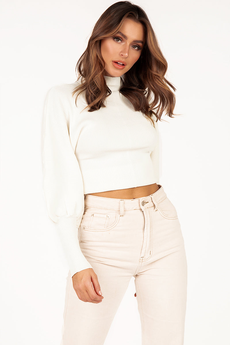 SANDRA WHITE PUFF SLEEVE JUMPER