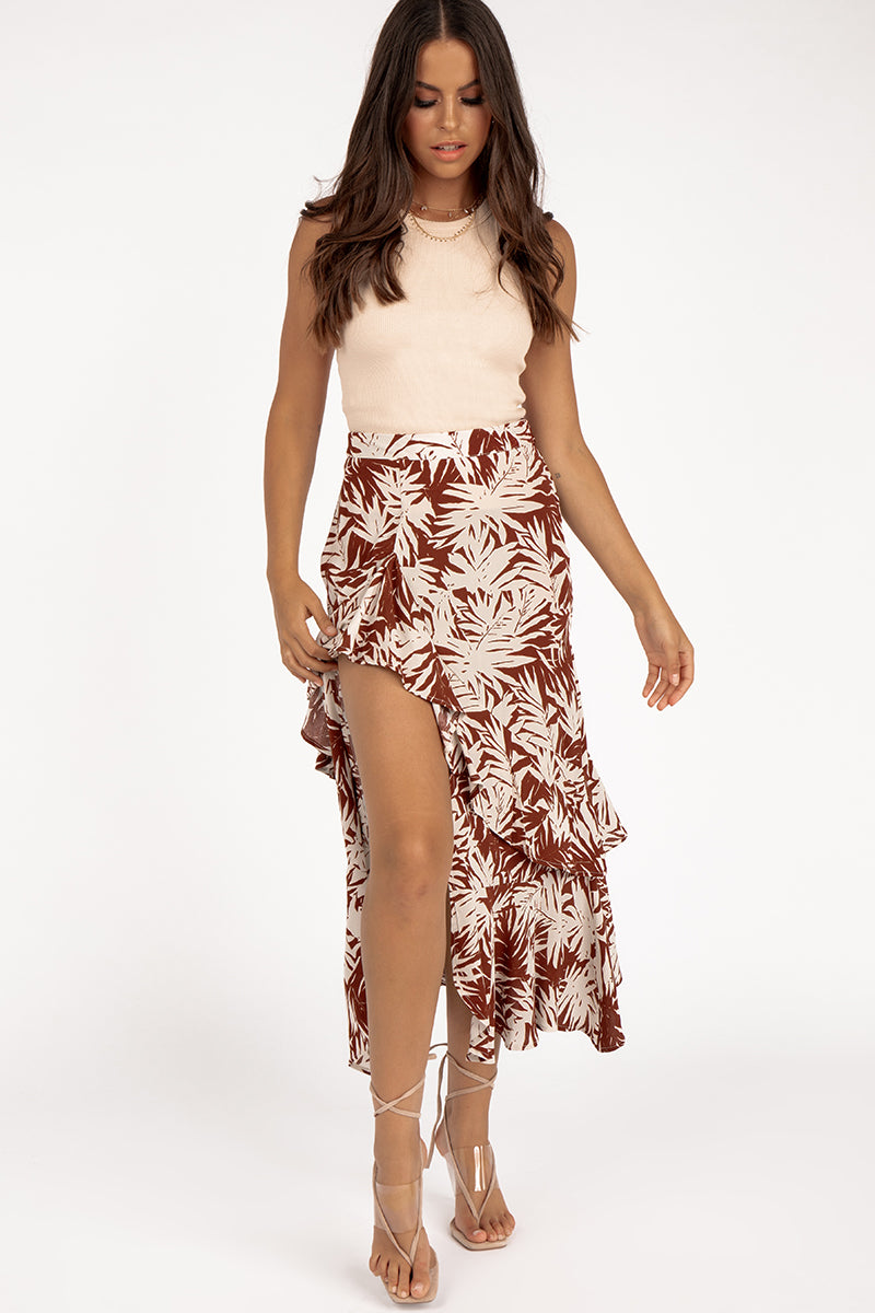 ONLY GIRL PALM PRINT MIDI SKIRT