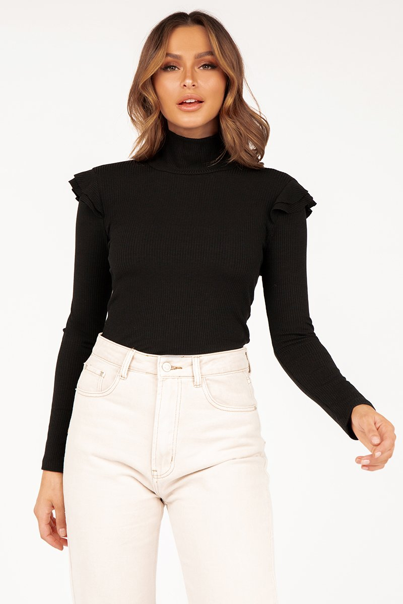 MIA BLACK LONG SLEEVE KNIT TOP