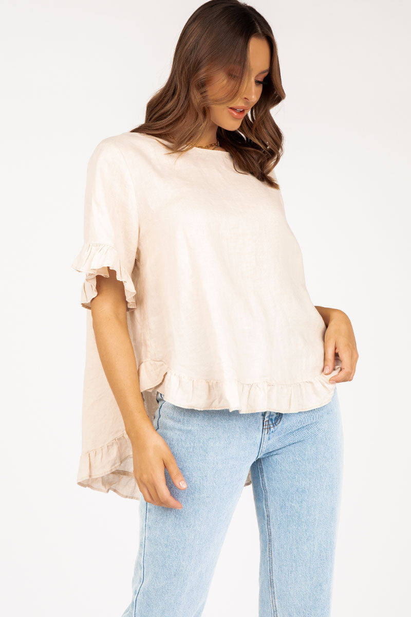 ONE DAY ALMOND LINEN DROP FRILL TOP
