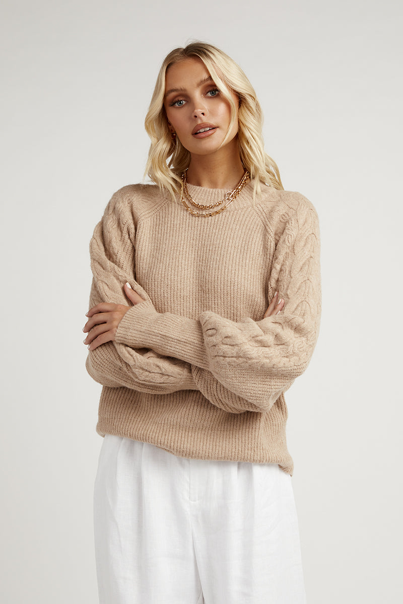 CARMEN BONE CABLE KNIT JUMPER