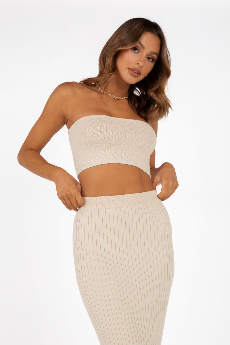 DASH STONE STRAPLESS KNIT TOP