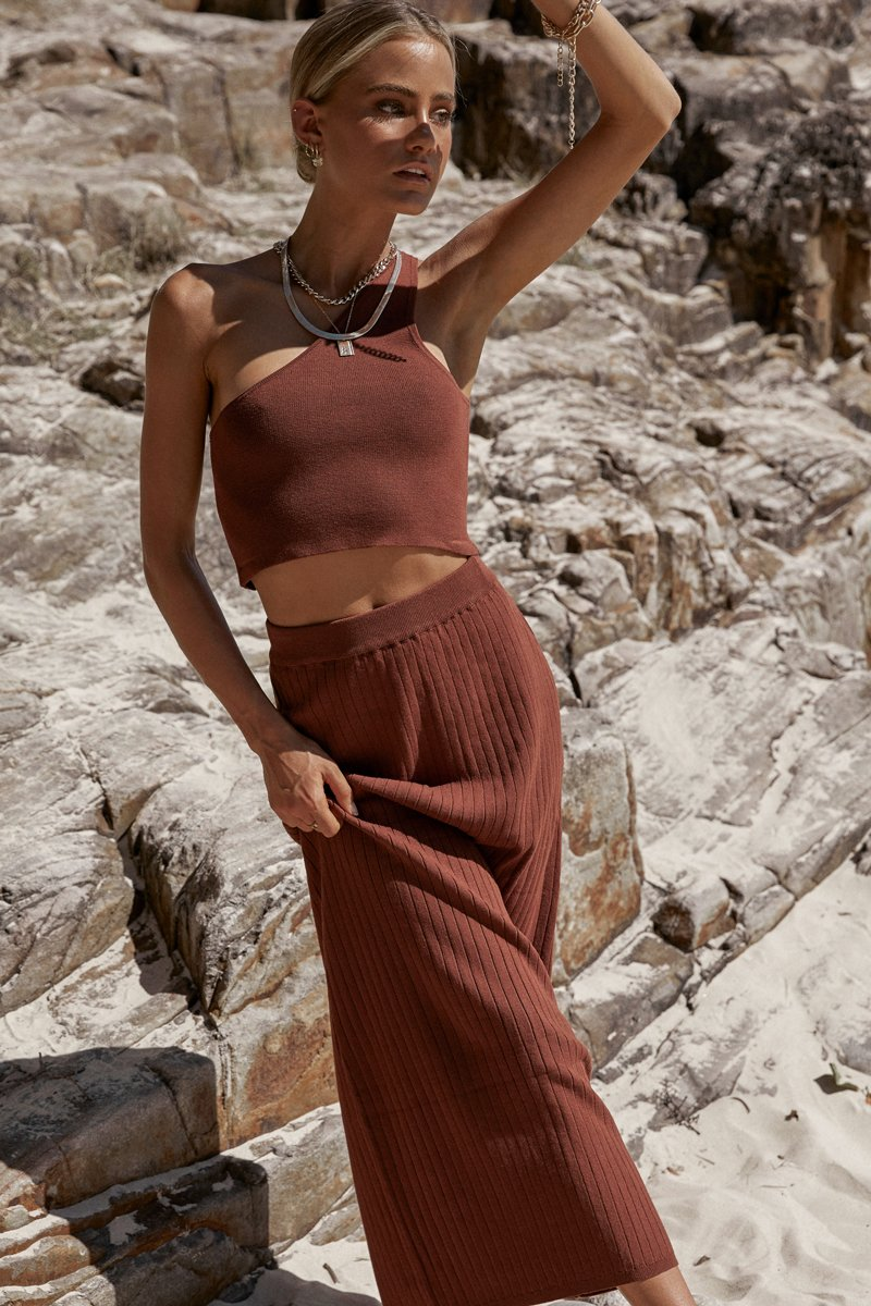 GRETTA COPPER RIB MIDI SKIRT