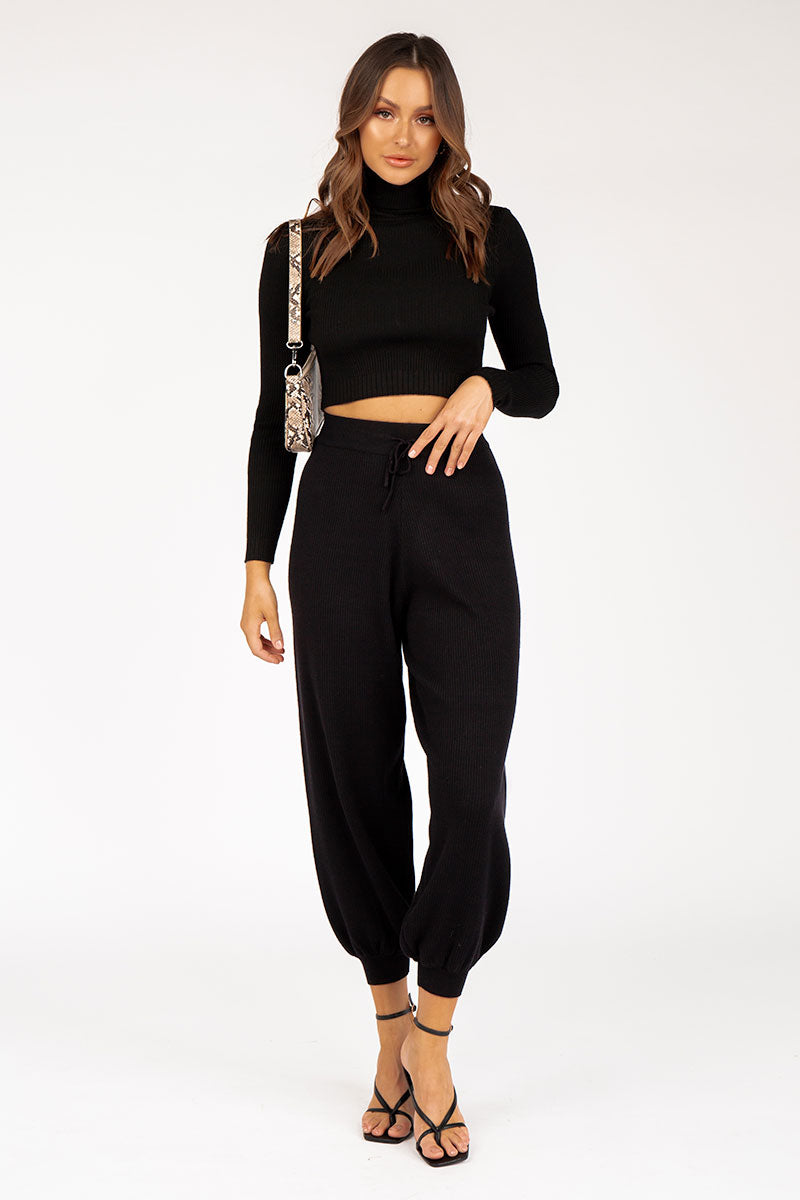 JOLIE BLACK RIB KNIT PANT