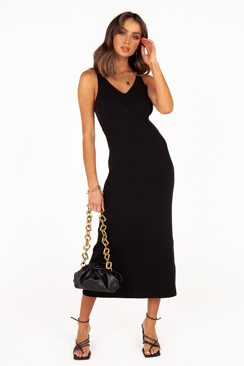 GWEN BLACK RIB KNIT MIDI DRESS
