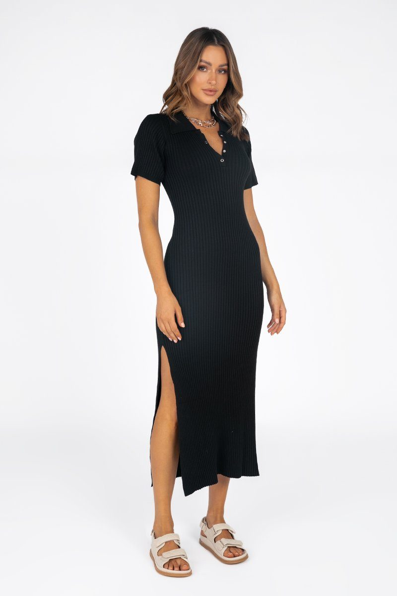 PIPER BLACK RIB KNIT MIDI DRESS
