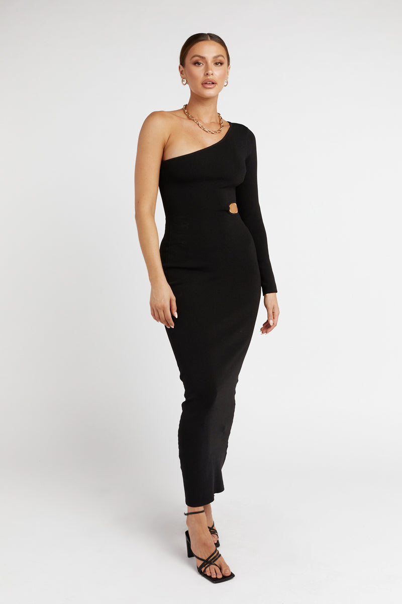 JAY BLACK ONE SHOULDER KNIT DRESS