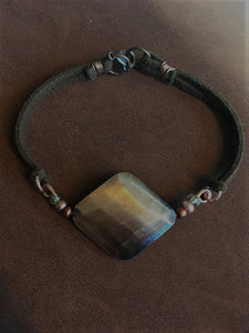 Copper and Faux Suede Bracelet
