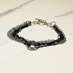 Leather & Chain Bracelet