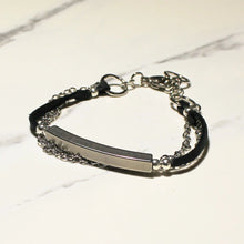 Load image into Gallery viewer, Leather, Chain, Bar Bracelet